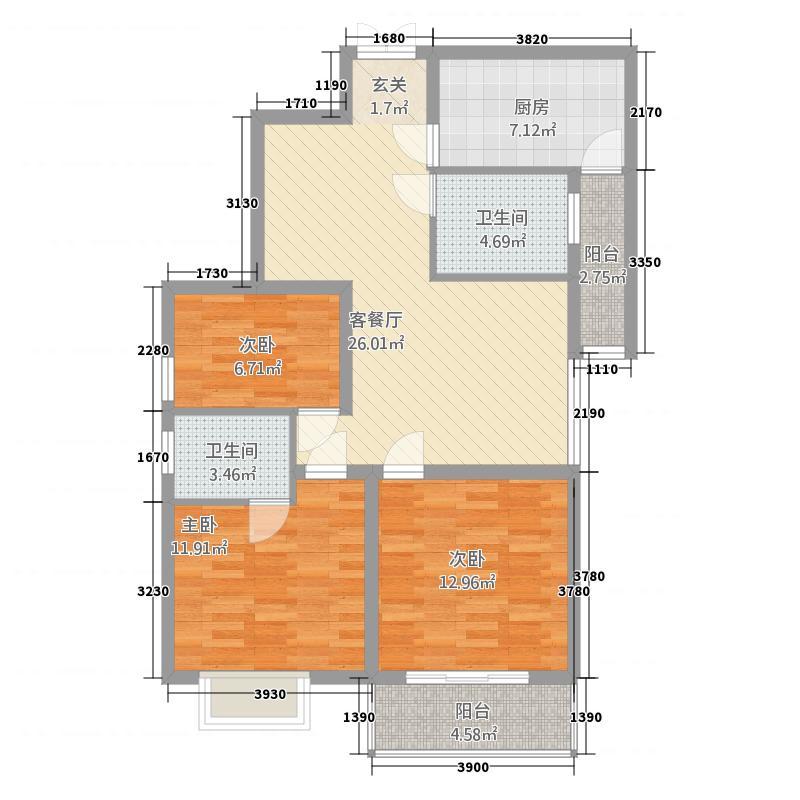 天筑香城115.50㎡H户型3室2厅2卫