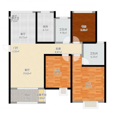 旭辉苹果乐园3室1厅2卫1厨137.00㎡户型图