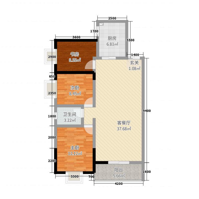 远大广场二期15.81㎡户型3室2厅1卫1厨