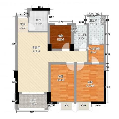 五洲国际3室1厅2卫1厨3217.00㎡户型图
