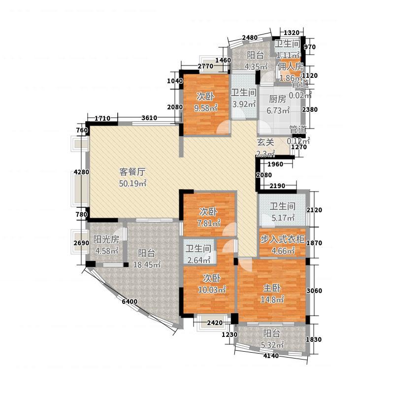 华浩国际城8215.20㎡一期8座标准层01户型5室2厅3卫