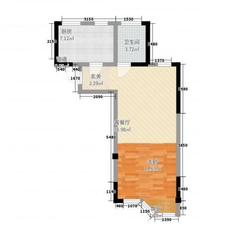 高成上海假日1厅1卫1厨61.00㎡户型图