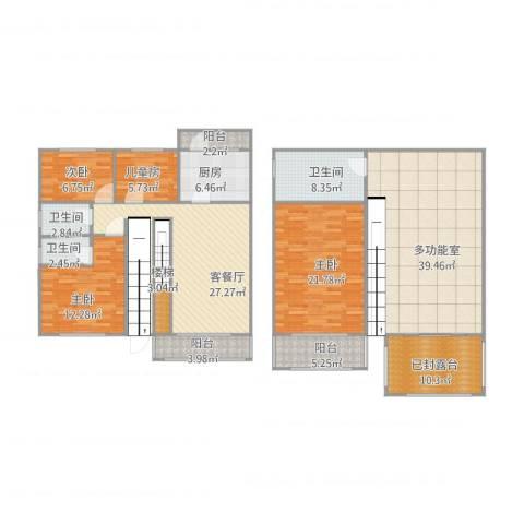 万科新城紫藤苑4室1厅3卫1厨213.00㎡户型图