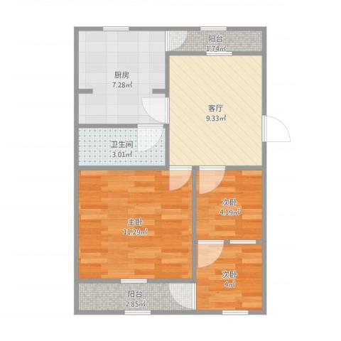 无影山新村3室1厅1卫1厨61.00㎡户型图