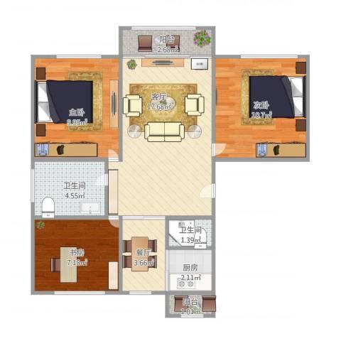 瑞宁嘉园3室2厅2卫1厨83.00㎡户型图