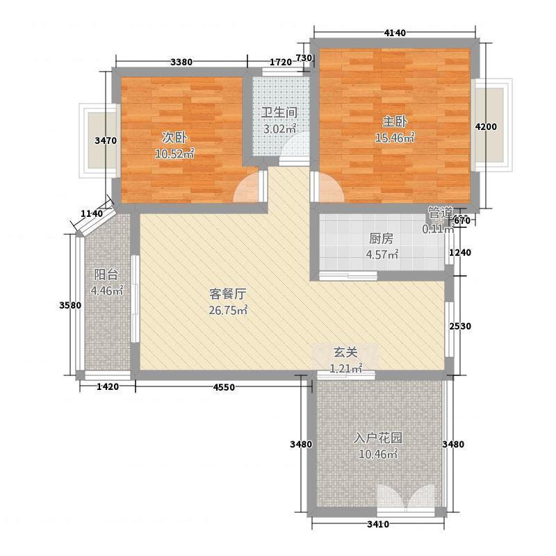 金域湾畔18.84㎡C1、C2座B、F型户型2室2厅1卫1厨