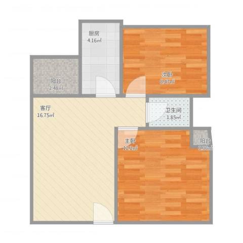 宏威中心2室1厅1卫1厨63.00㎡户型图