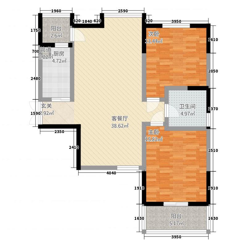 逸品春天123.64㎡C1户型2室2厅1卫1厨