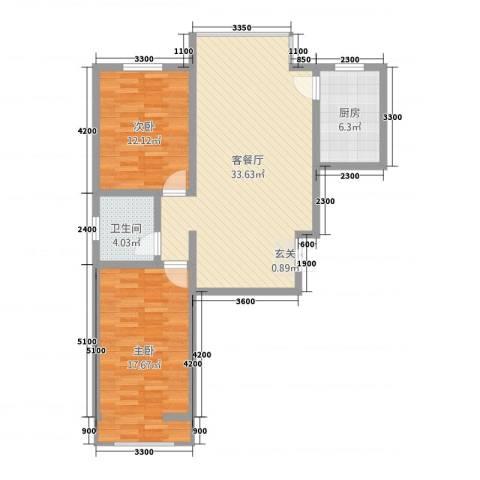 天地・凤凰城2室1厅1卫1厨73.75㎡户型图