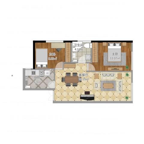 东亚・五环国际2室1厅1卫1厨86.00㎡户型图