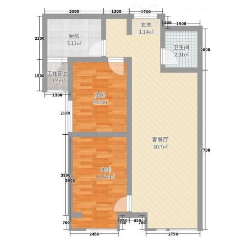 天地・凤凰城2室1厅1卫1厨86.00㎡户型图