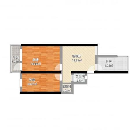 环西新村2室1厅1卫1厨76.00㎡户型图