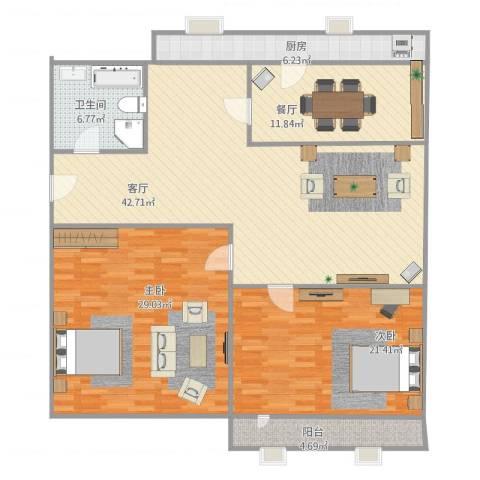 东仓小区2室2厅1卫1厨163.00㎡户型图