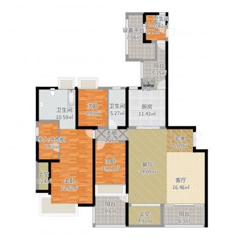万象城悦府3室1厅2卫1厨236.00㎡户型图