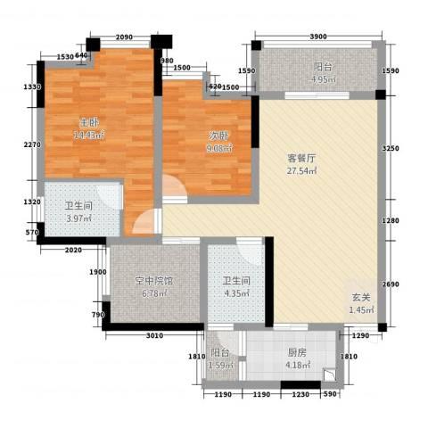 鸥鹏・天境2室1厅2卫1厨128.00㎡户型图