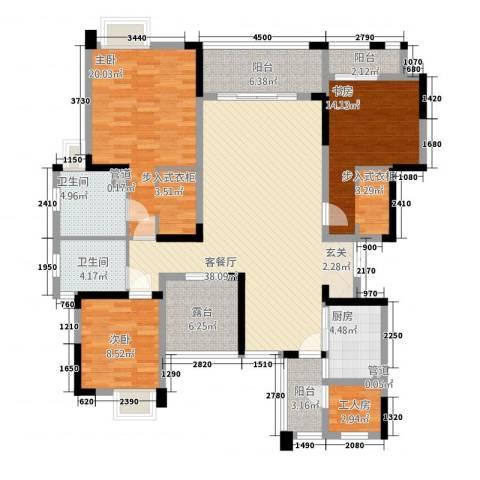 万硕・江城一品3室1厅2卫1厨115.44㎡户型图