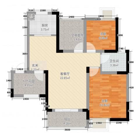 瑞泽源一里洋房2室1厅1卫1厨89.00㎡户型图