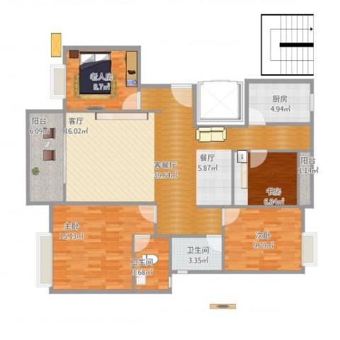 金龙华侨城4室1厅2卫1厨136.00㎡户型图
