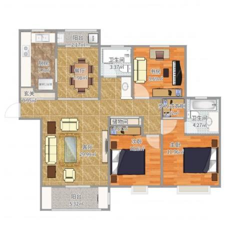 远香舫3室2厅2卫1厨131.00㎡户型图