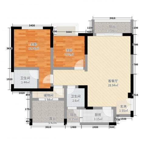 兴盈德润城2室1厅2卫1厨105.00㎡户型图