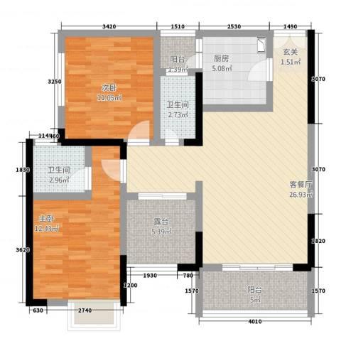 兴盈德润城2室1厅2卫1厨108.00㎡户型图
