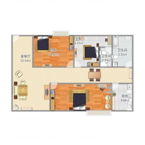 碧湖花园3室1厅2卫1厨108.00㎡户型图