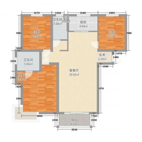 广场君府3室1厅2卫1厨32132.00㎡户型图