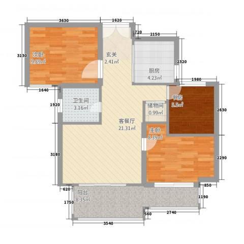 万成香格里拉3室1厅1卫1厨88.00㎡户型图
