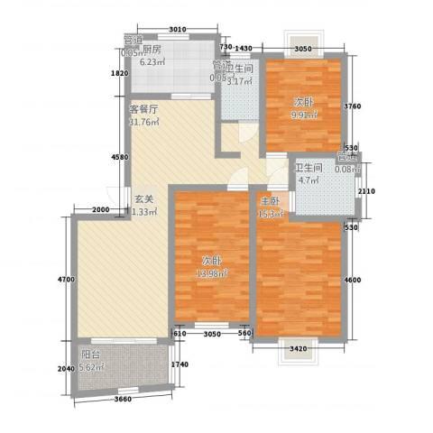 城市之光3室1厅2卫1厨133.00㎡户型图
