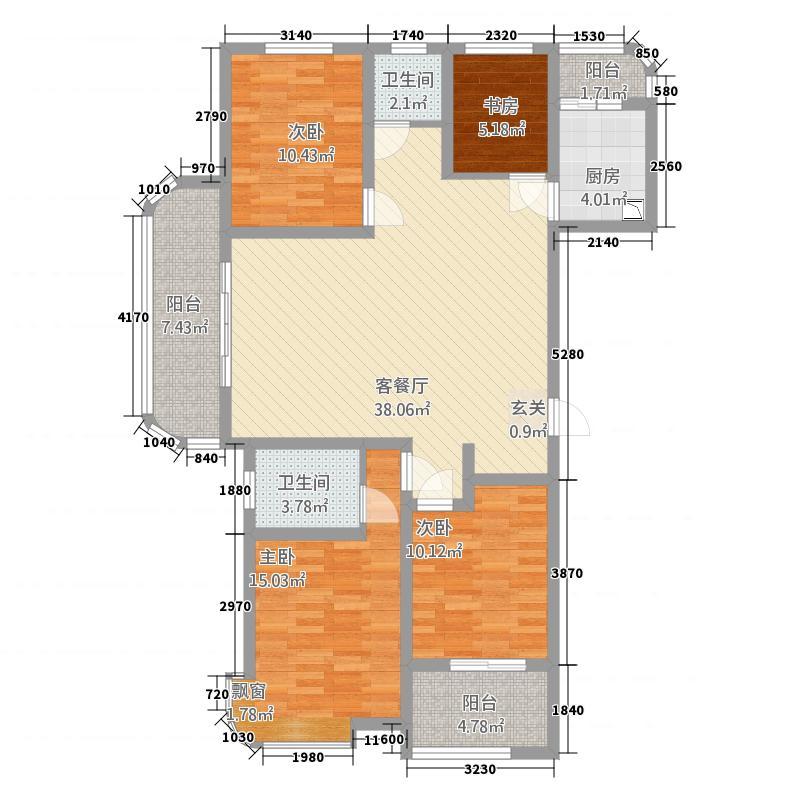 龙泉壹号34153.20㎡B3户型4室2厅2卫1厨