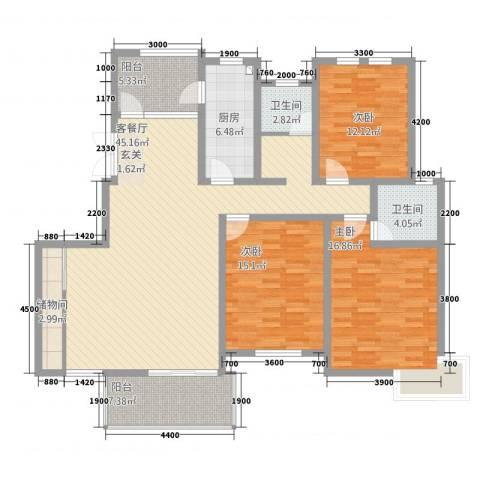 红山大厦3室1厅2卫1厨128.00㎡户型图