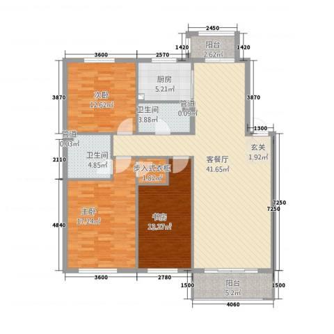保利花园三期双河城3室1厅2卫1厨151.00㎡户型图
