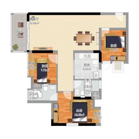 珠江东岸3室1厅4卫1厨110.00㎡户型图