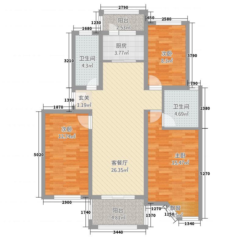 华泰铭苑33212.20㎡3户型3室2厅2卫1厨