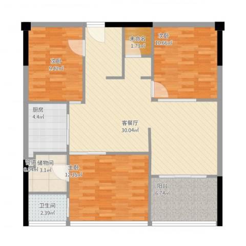观澜御苑二期观澜御�台3室1厅2卫1厨113.00㎡户型图