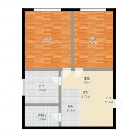 平安居2室1厅1卫1厨111.00㎡户型图