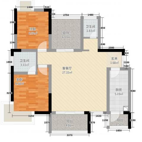 龙川北郡二期2室1厅2卫1厨67.16㎡户型图