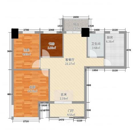 永辉・巴黎3室1厅1卫1厨69.02㎡户型图