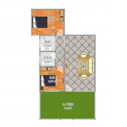 侨建花园2室1厅1卫1厨115.00㎡户型图