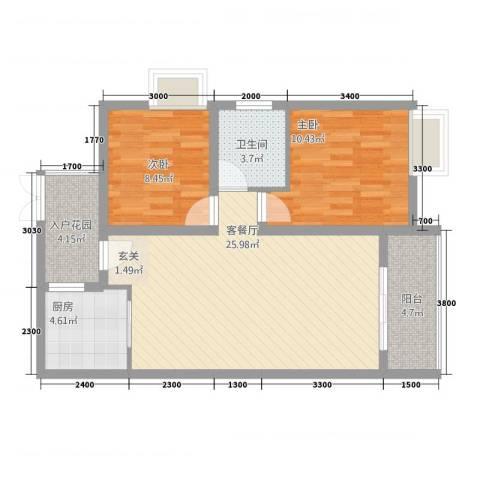 希尔安江上城2室1厅1卫1厨83.00㎡户型图