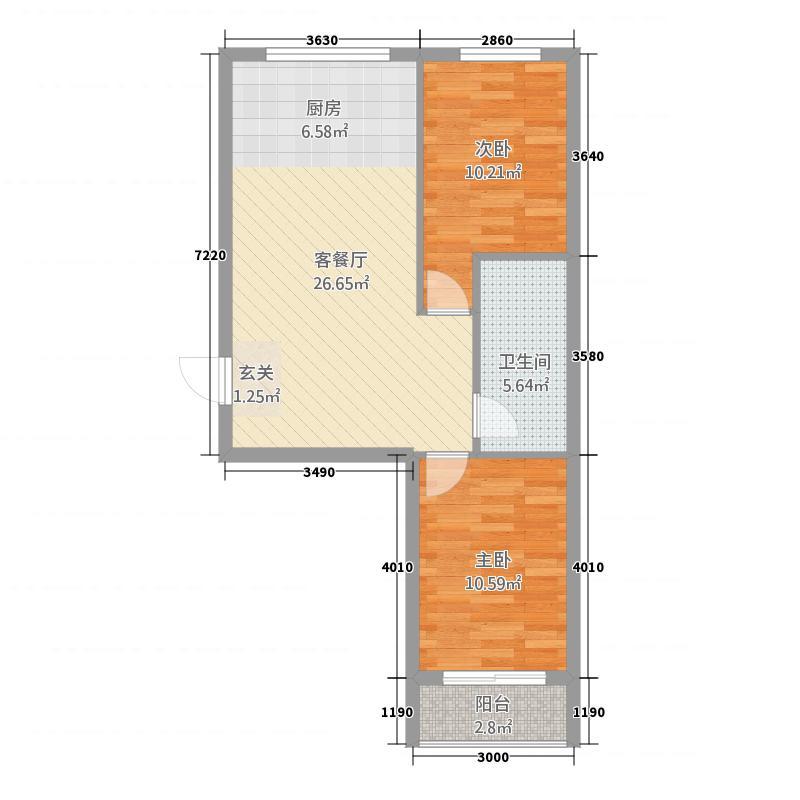 亚澜湾3266.12㎡g3户型2室1厅1卫1厨