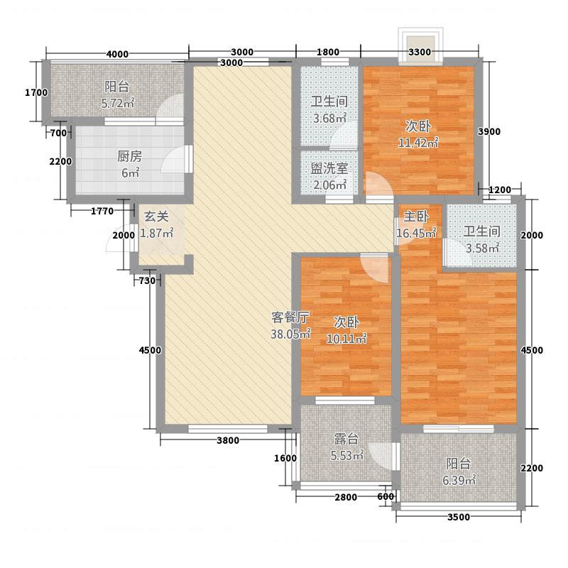 世纪国宏3214.20㎡A户型3室2厅2卫1厨