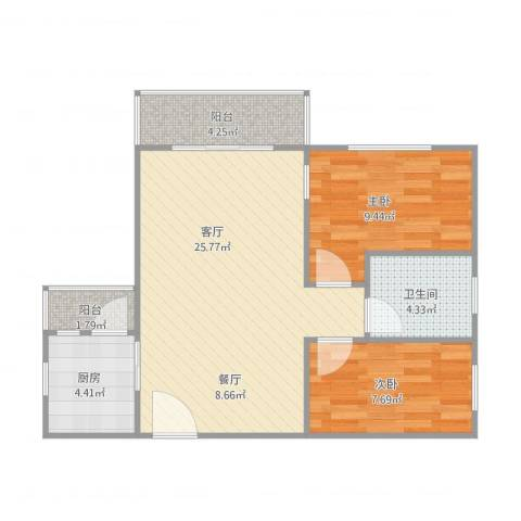 星誉花园2室1厅1卫1厨78.00㎡户型图
