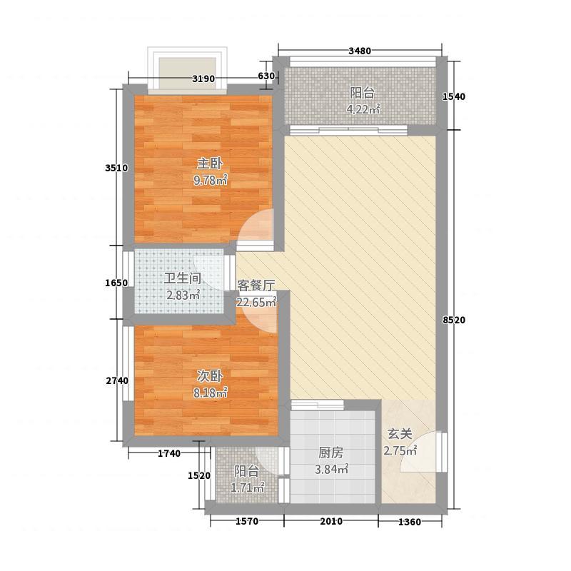 西溪・金港湾72.00㎡B3户型2室2厅1卫1厨