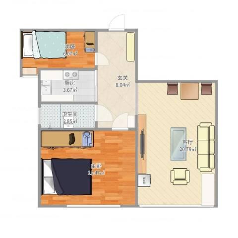 幸福城居住区经济适用房2室1厅1卫1厨77.00㎡户型图