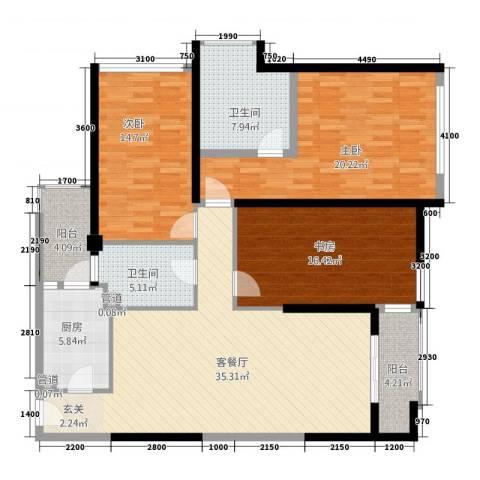 佳润上品轩3室1厅2卫1厨113.99㎡户型图
