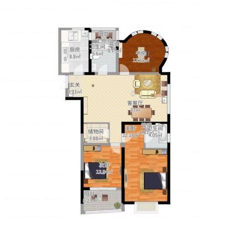 创智赢家3室1厅2卫1厨165.00㎡户型图