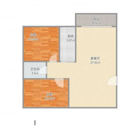 东方广场2室1厅1卫1厨100.00㎡户型图