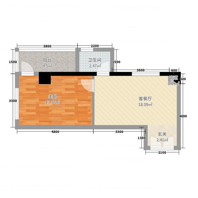 新新海岸56.38㎡A1户型1室1厅1卫1厨