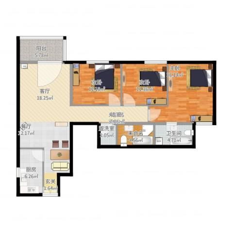 电子城小区3室1厅1卫1厨148.00㎡户型图